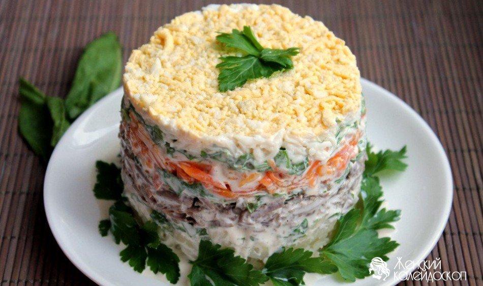 рецепт салат с свиной печенью