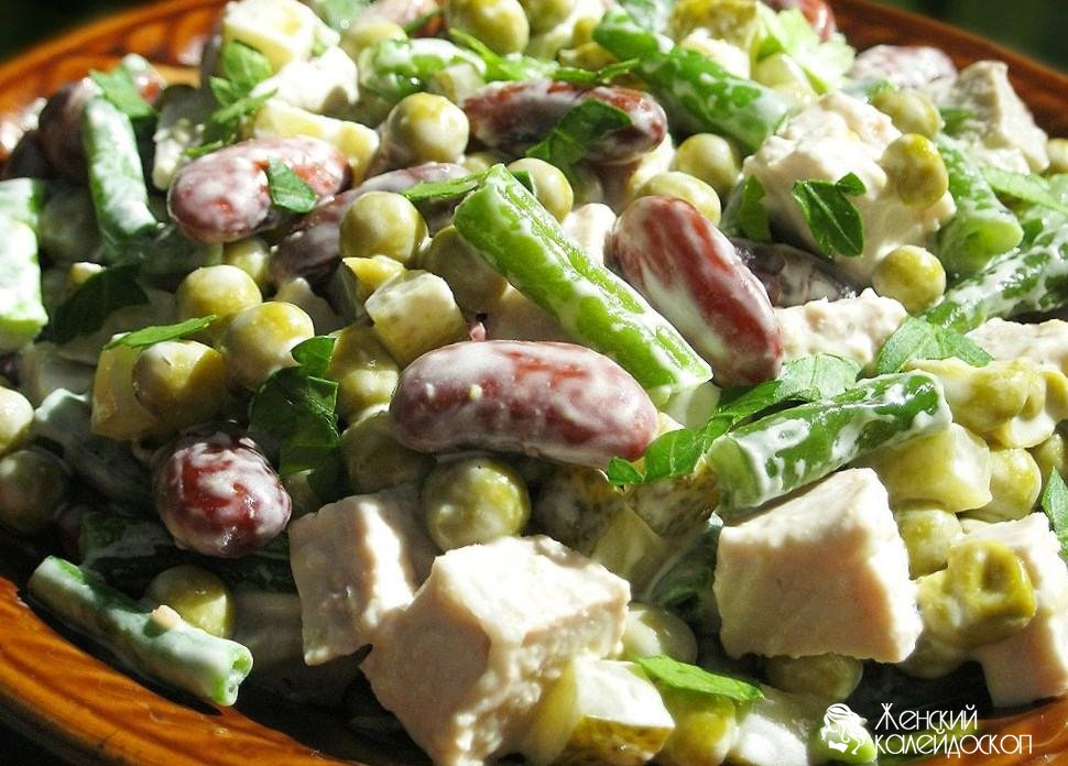 Рецепт салата фасоль соленые огурцы