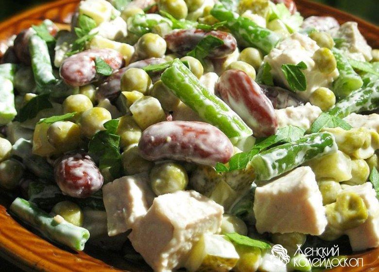 рецепты салатов с красной фасоли соленых огурцов