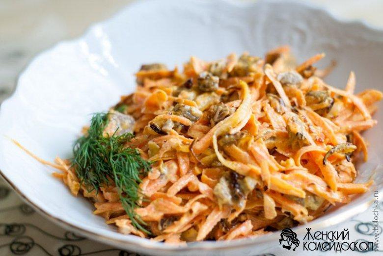 Салат обжорка с мясом и морковью