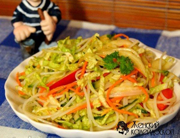 салат с фунчозой перец огурец рецепт