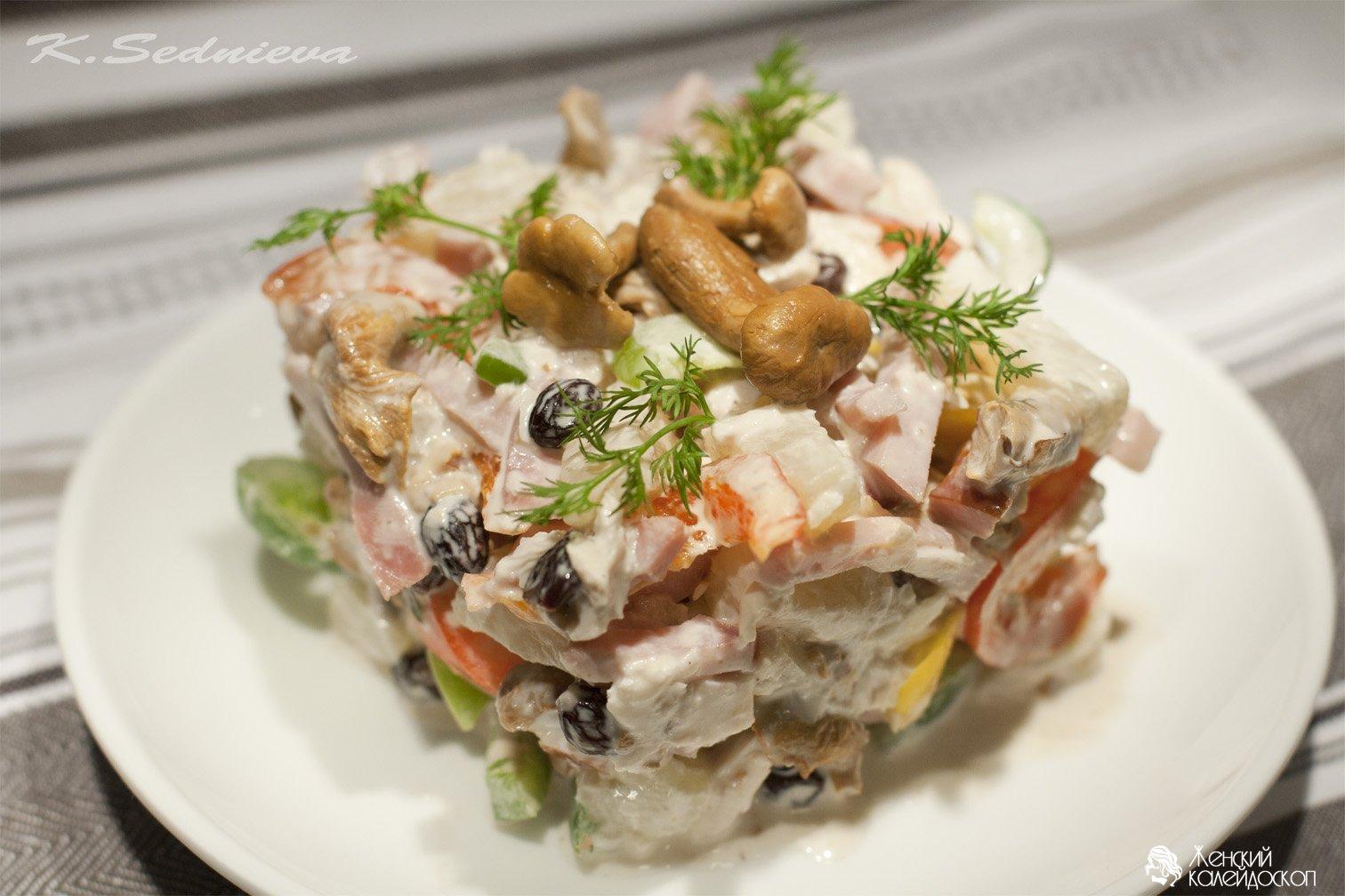 Салаты с ветчиной и грибами и картошкой рецепт в